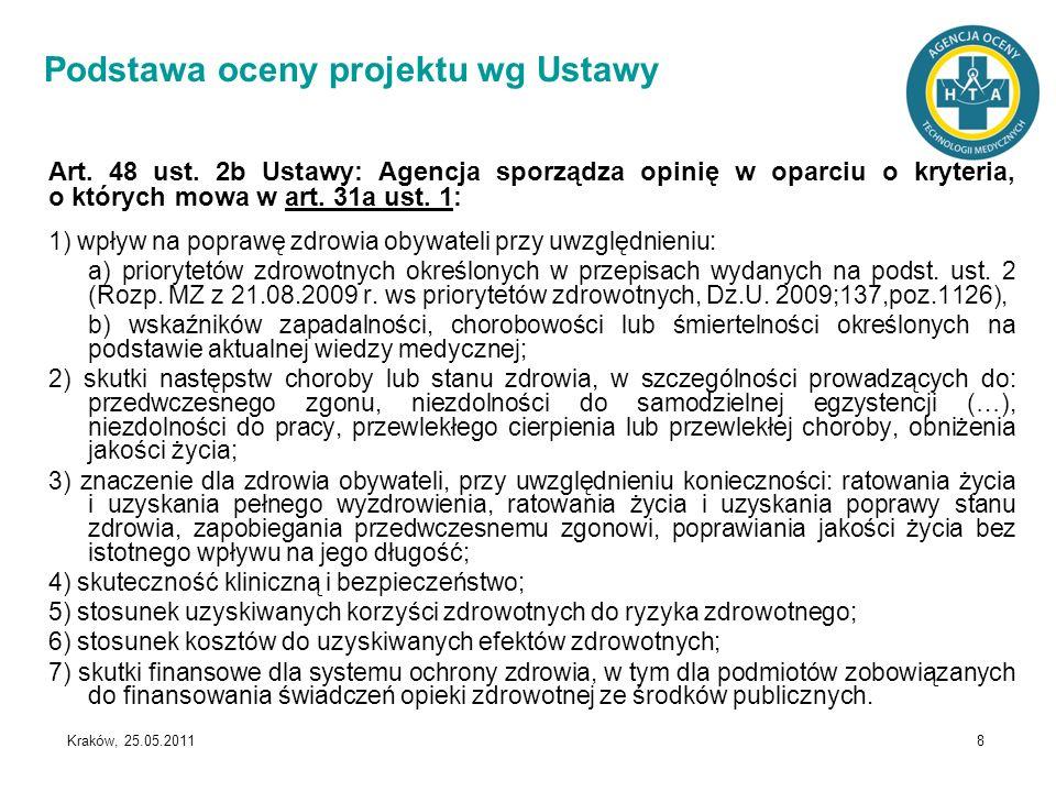 Kraków, 25.05.2011 8 Podstawa oceny projektu wg Ustawy Art. 48 ust. 2b Ustawy: Agencja sporządza opinię w oparciu o kryteria, o których mowa w art. 31
