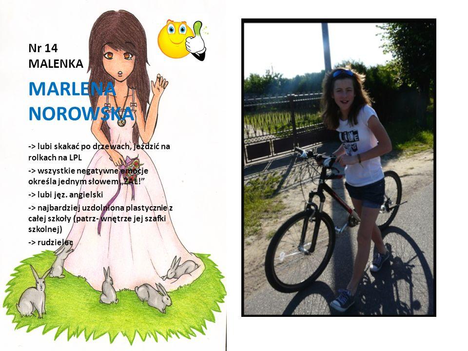 Nr 14 MALENKA MARLENA NOROWSKA -> lubi skakać po drzewach, jeździć na rolkach na LPL -> wszystkie negatywne emocje określa jednym słowem ŻAL! -> lubi