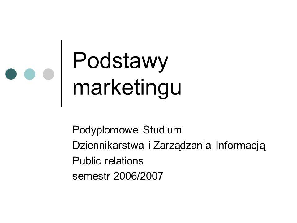 Podstawy marketingu Podyplomowe Studium Dziennikarstwa i Zarządzania Informacją Public relations semestr 2006/2007