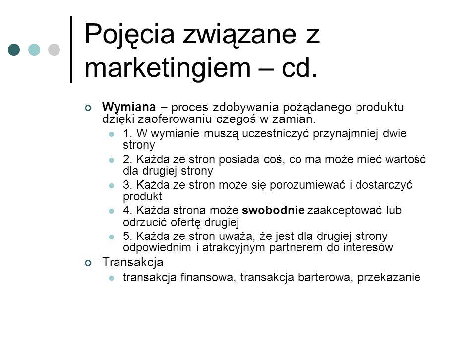 Pojęcia związane z marketingiem – cd. Wymiana – proces zdobywania pożądanego produktu dzięki zaoferowaniu czegoś w zamian. 1. W wymianie muszą uczestn