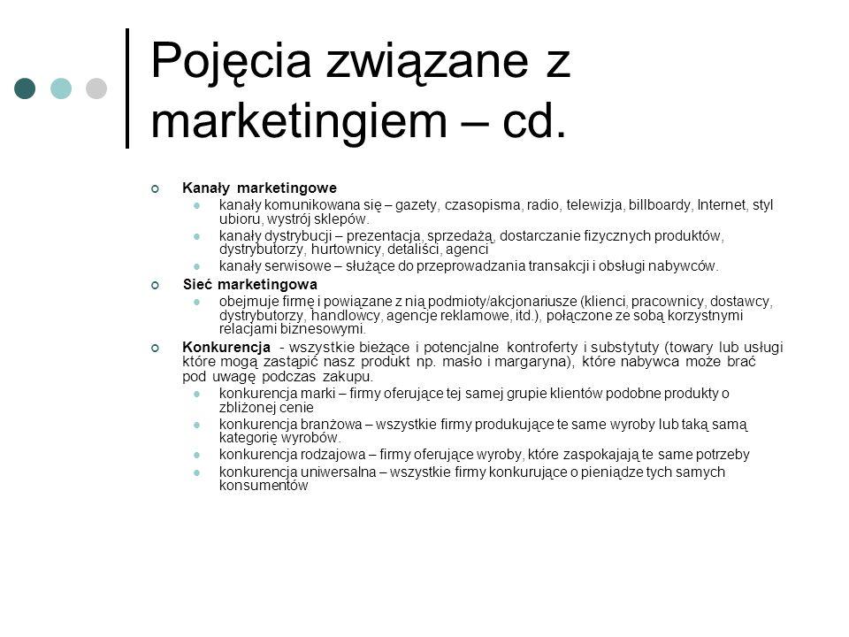 Pojęcia związane z marketingiem – cd. Kanały marketingowe kanały komunikowana się – gazety, czasopisma, radio, telewizja, billboardy, Internet, styl u