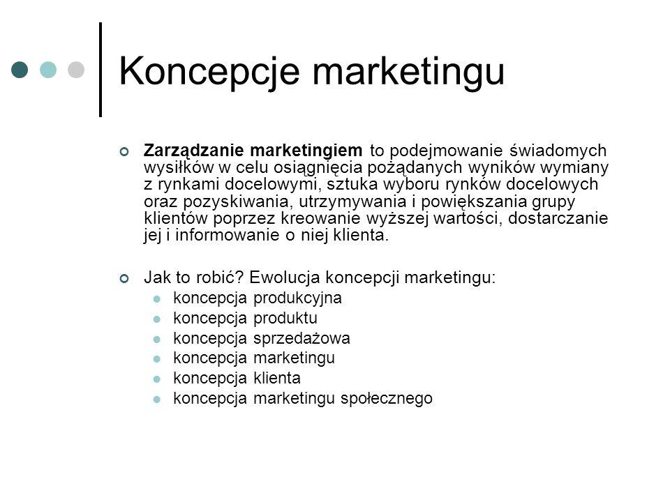 Koncepcje marketingu Zarządzanie marketingiem to podejmowanie świadomych wysiłków w celu osiągnięcia pożądanych wyników wymiany z rynkami docelowymi,