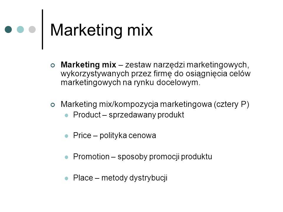 Marketing mix Marketing mix – zestaw narzędzi marketingowych, wykorzystywanych przez firmę do osiągnięcia celów marketingowych na rynku docelowym. Mar