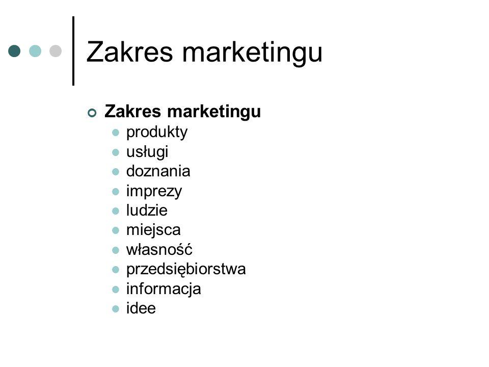 Zakres marketingu produkty usługi doznania imprezy ludzie miejsca własność przedsiębiorstwa informacja idee
