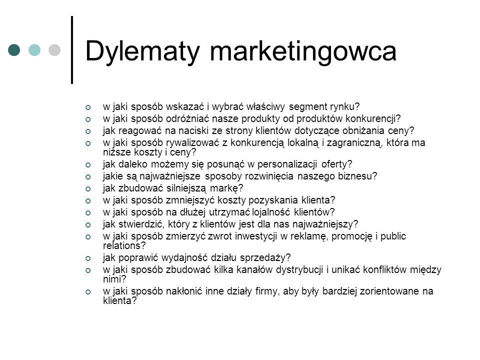 Dylematy marketingowca w jaki sposób wskazać i wybrać właściwy segment rynku? w jaki sposób odróżniać nasze produkty od produktów konkurencji? jak rea