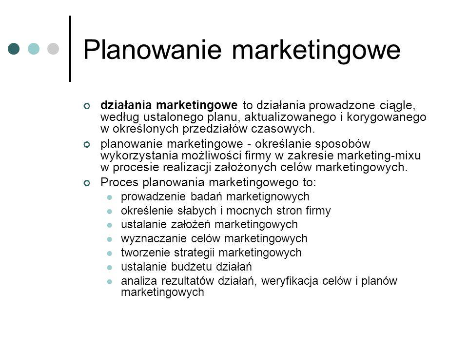 Planowanie marketingowe działania marketingowe to działania prowadzone ciągle, według ustalonego planu, aktualizowanego i korygowanego w określonych p