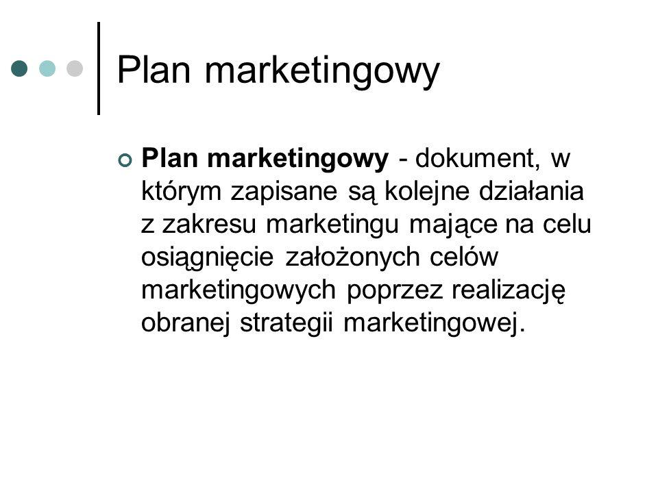 Plan marketingowy Plan marketingowy - dokument, w którym zapisane są kolejne działania z zakresu marketingu mające na celu osiągnięcie założonych celó