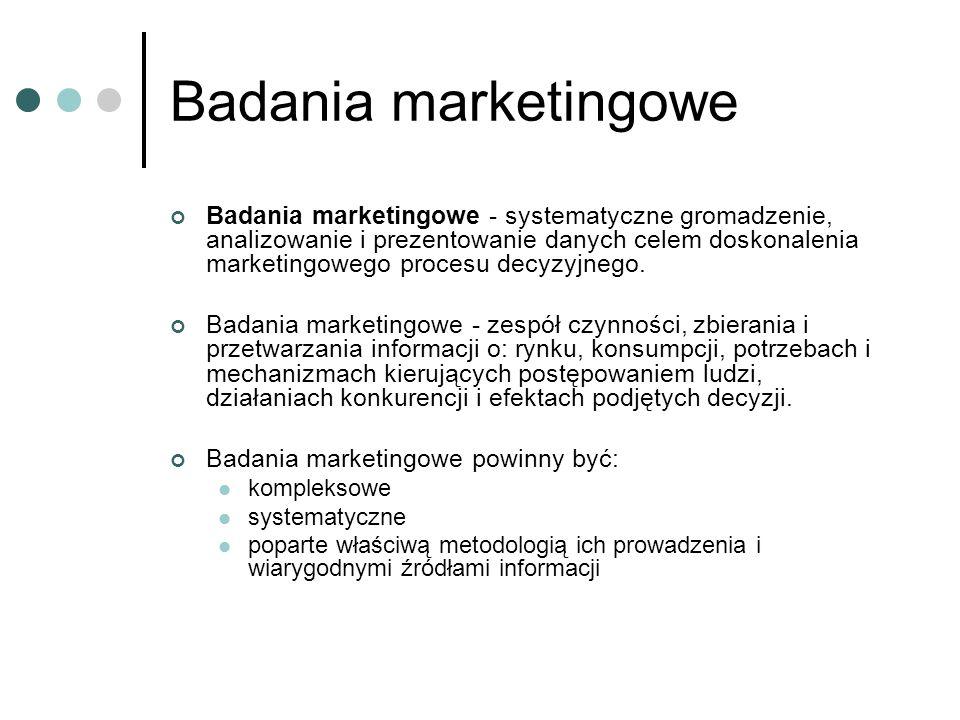 Badania marketingowe Badania marketingowe - systematyczne gromadzenie, analizowanie i prezentowanie danych celem doskonalenia marketingowego procesu d