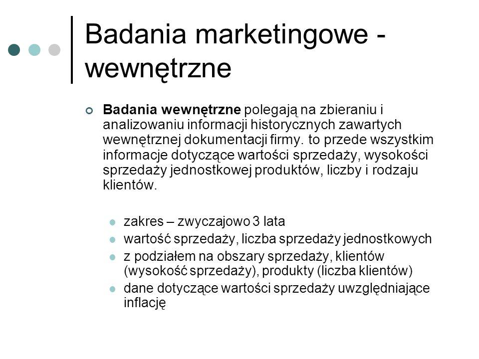 Badania marketingowe - wewnętrzne Badania wewnętrzne polegają na zbieraniu i analizowaniu informacji historycznych zawartych wewnętrznej dokumentacji