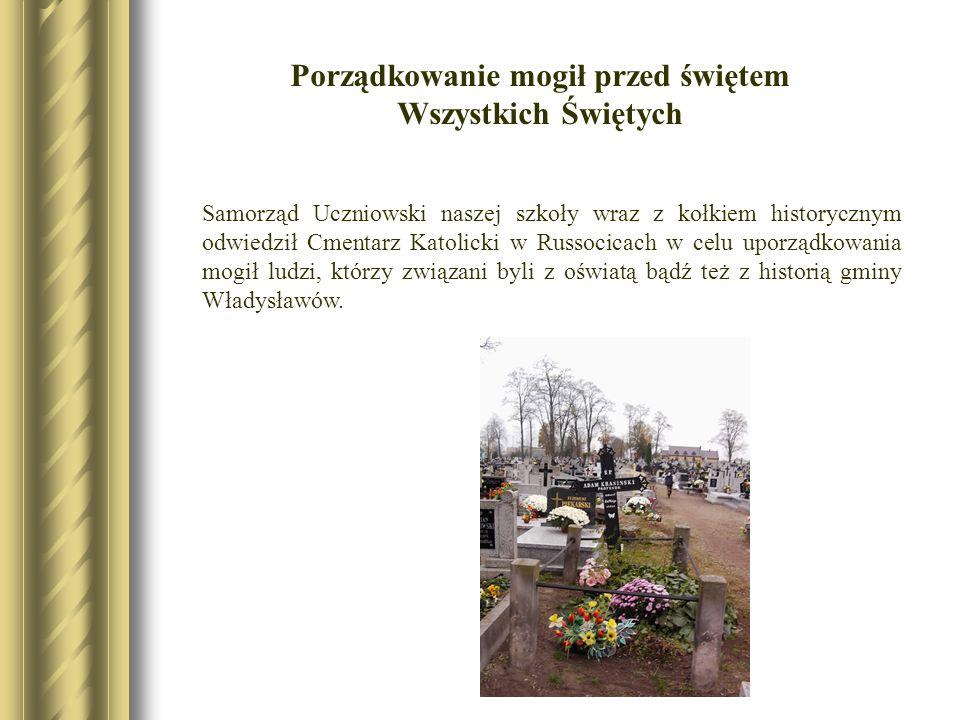 Porządkowanie mogił przed świętem Wszystkich Świętych Samorząd Uczniowski naszej szkoły wraz z kołkiem historycznym odwiedził Cmentarz Katolicki w Rus