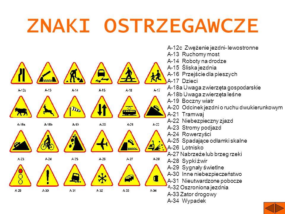 ZNAKI DROGOWE ZNAKI OSTRZEGAWCZE A-1 Niebezpieczny zakręt w prawo A-2 Niebezpieczny zakręt w lewo A-3 Dwa niebezpieczne zakręty (pierwszy w prawo) A-4