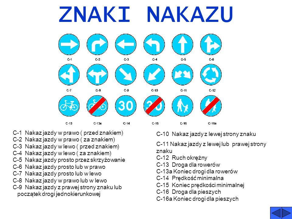 ZNAKI ZAKAZU B-1 Zakaz ruchu w obu kierunkach B-2 Zakaz wjazdu B-3 Zakaz wjazdu pojazdów silnikowych z wyjątkiem motocykli jednośladowych B-3a Zakaz w