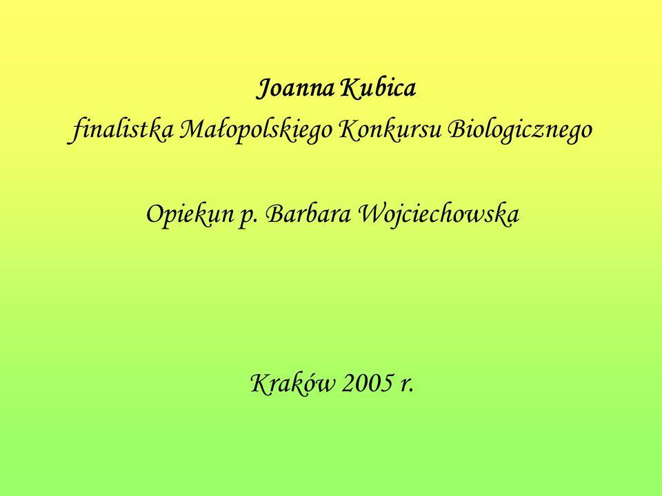 Joanna Kubica finalistka Małopolskiego Konkursu Biologicznego Opiekun p.