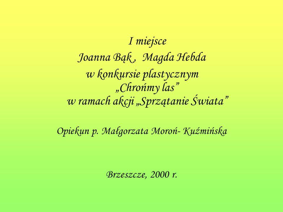 I miejsce Joanna Bąk, Magda Hebda w konkursie plastycznym Chrońmy las w ramach akcji Sprzątanie Świata Opiekun p.