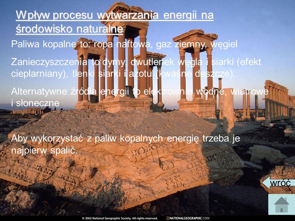 Wpływ procesu wytwarzania energii na środowisko naturalne Paliwa kopalne to: ropa naftowa, gaz ziemny, węgiel Zanieczyszczenia to dymy, dwutlenek węgl