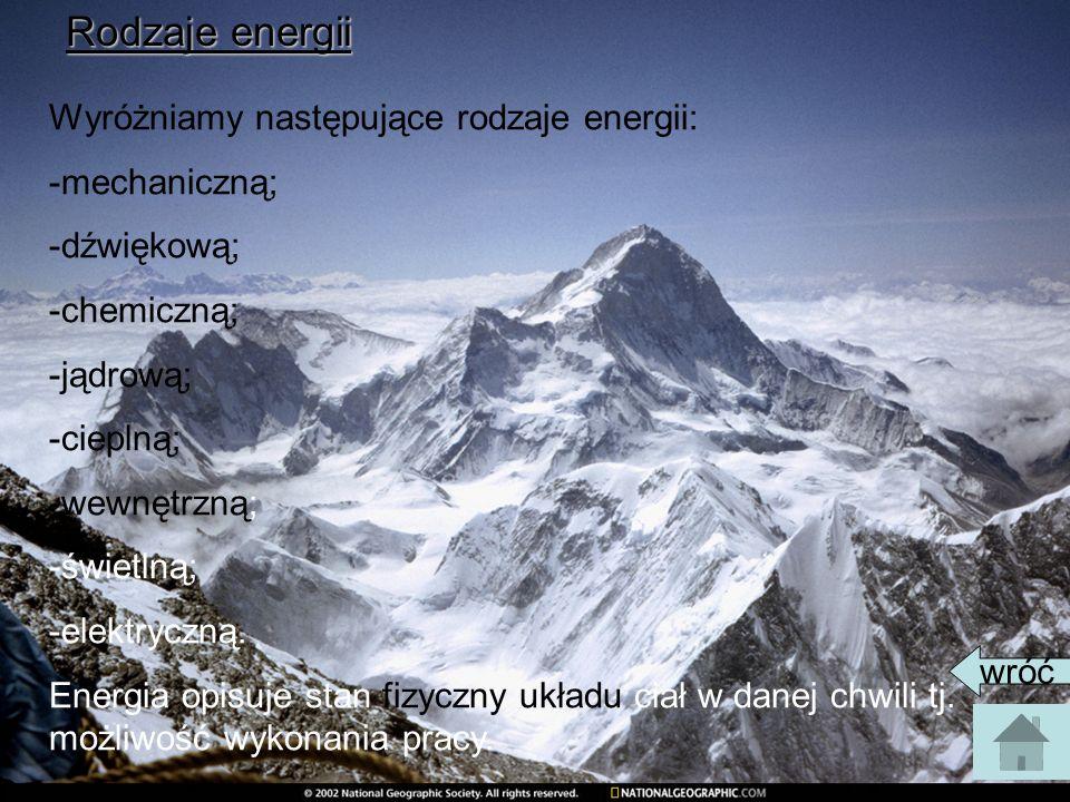 Rodzaje energii Wyróżniamy następujące rodzaje energii: -mechaniczną; -dźwiękową; -chemiczną; -jądrową; -cieplną; -wewnętrzną; -świetlną; -elektryczną