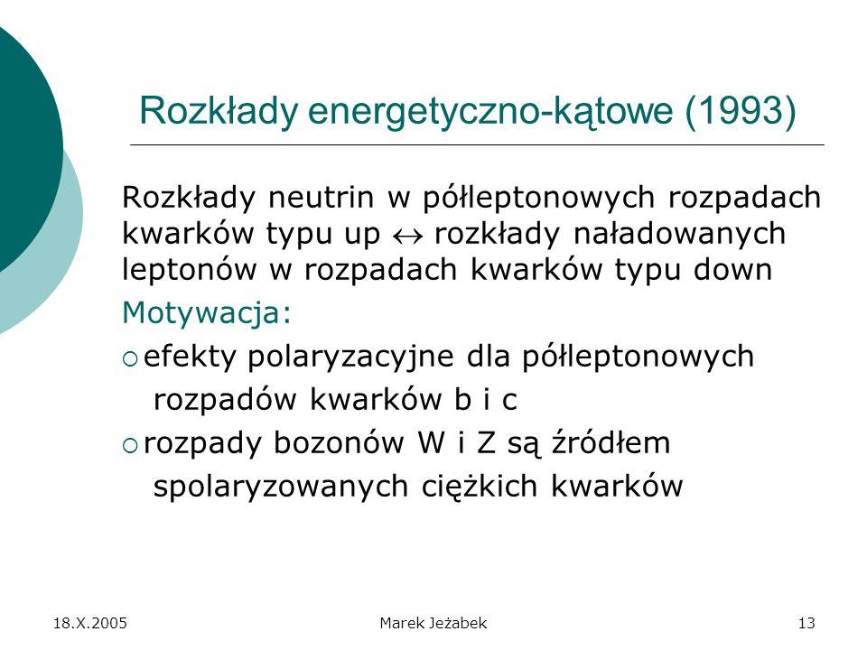 18.X.2005Marek Jeżabek13 Rozkłady energetyczno-kątowe (1993) Rozkłady neutrin w półleptonowych rozpadach kwarków typu up rozkłady naładowanych leptonów w rozpadach kwarków typu down Motywacja: efekty polaryzacyjne dla półleptonowych rozpadów kwarków b i c rozpady bozonów W i Z są źródłem spolaryzowanych ciężkich kwarków
