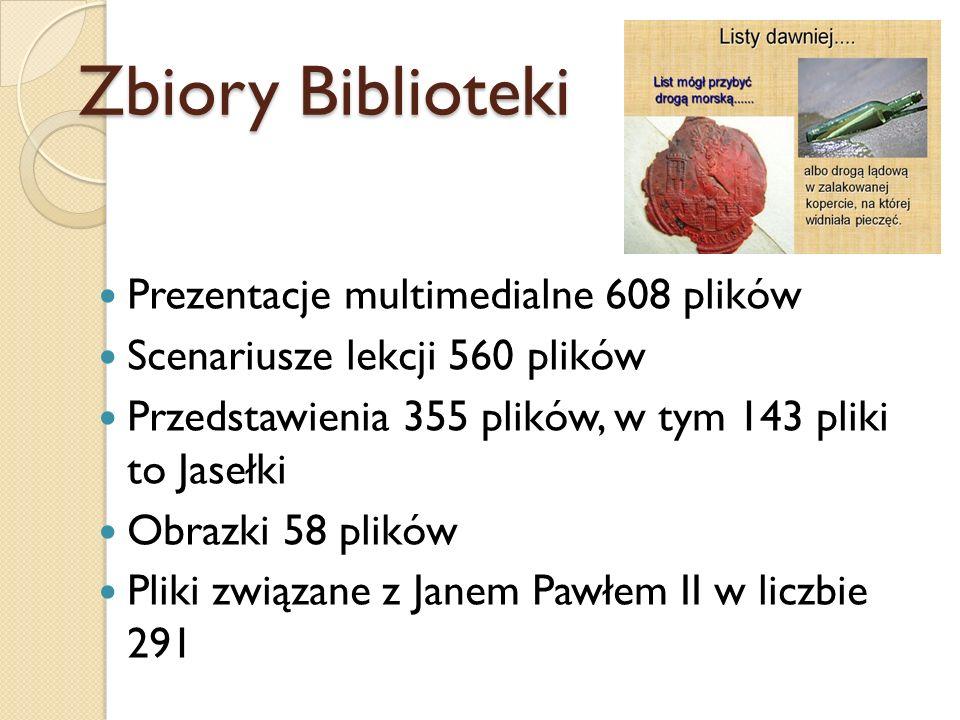 Zbiory Biblioteki Prezentacje multimedialne 608 plików Scenariusze lekcji 560 plików Przedstawienia 355 plików, w tym 143 pliki to Jasełki Obrazki 58