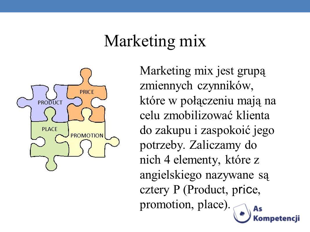 Marketing mix Marketing mix jest grupą zmiennych czynników, które w połączeniu mają na celu zmobilizować klienta do zakupu i zaspokoić jego potrzeby.
