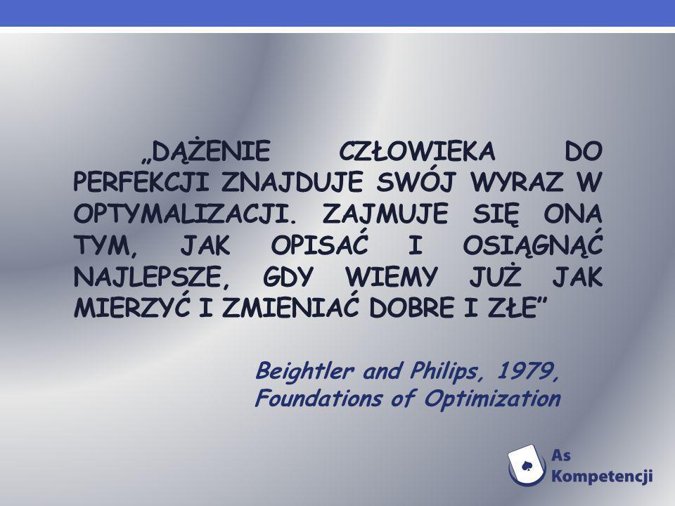 POJĘCIE OPTYMALIZACJI Optymalizacją w najszerszym znaczeniu tego słowa nazywa się otrzymanie najlepszych wyników w danych warunkach.