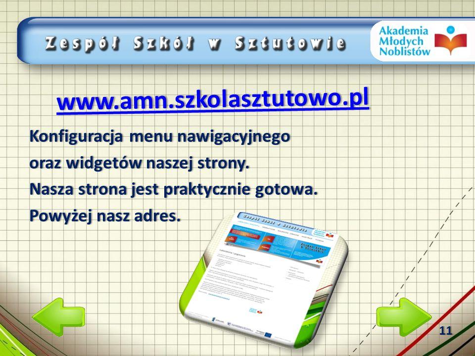 Konfiguracja menu nawigacyjnegoKonfiguracja menu nawigacyjnego oraz widgetów naszej strony.oraz widgetów naszej strony.