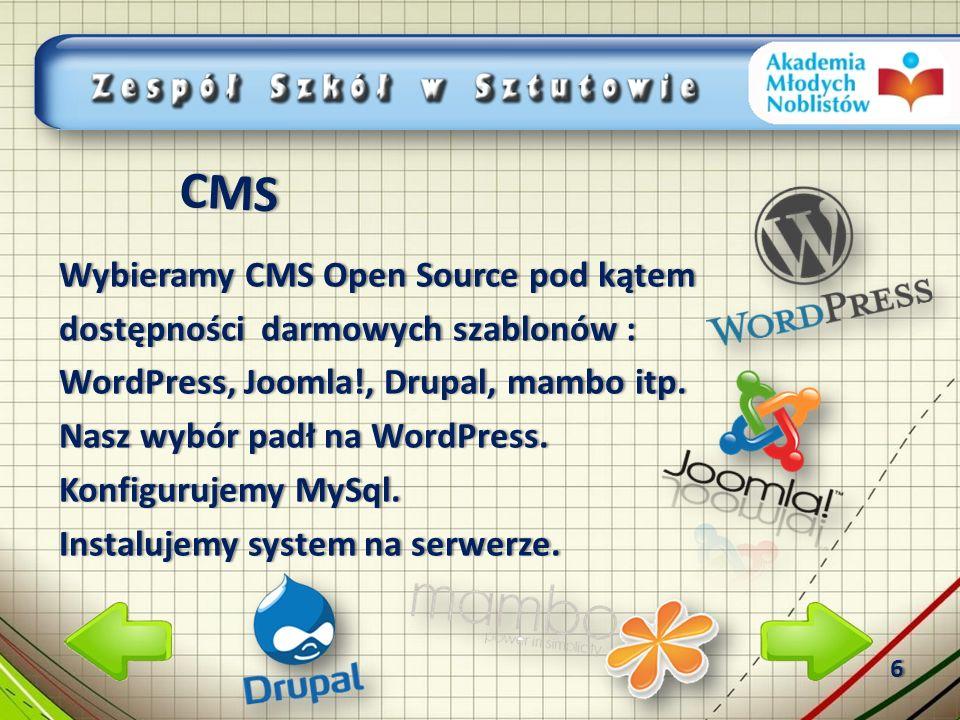 Wybieramy CMS Open Source pod kątemWybieramy CMS Open Source pod kątem dostępności darmowych szablonów :dostępności darmowych szablonów : WordPress, Joomla!, Drupal, mambo itp.WordPress, Joomla!, Drupal, mambo itp.