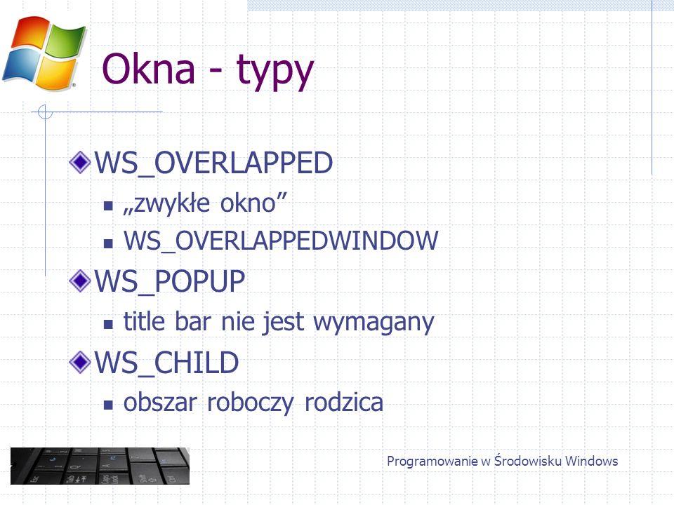 Okna - typy WS_OVERLAPPED zwykłe okno WS_OVERLAPPEDWINDOW WS_POPUP title bar nie jest wymagany WS_CHILD obszar roboczy rodzica Programowanie w Środowi