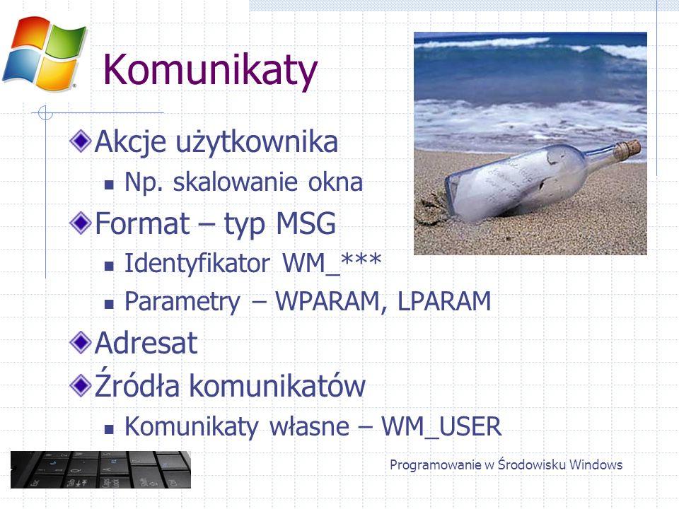 Komunikaty Akcje użytkownika Np. skalowanie okna Format – typ MSG Identyfikator WM_*** Parametry – WPARAM, LPARAM Adresat Źródła komunikatów Komunikat