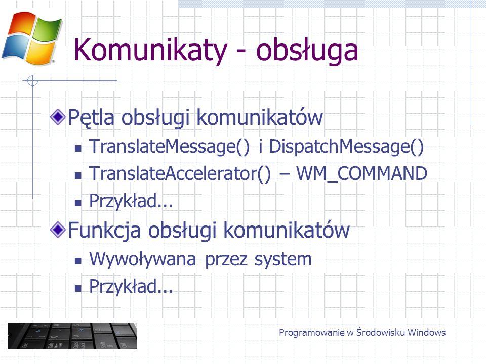 Komunikaty - obsługa Pętla obsługi komunikatów TranslateMessage() i DispatchMessage() TranslateAccelerator() – WM_COMMAND Przykład... Funkcja obsługi