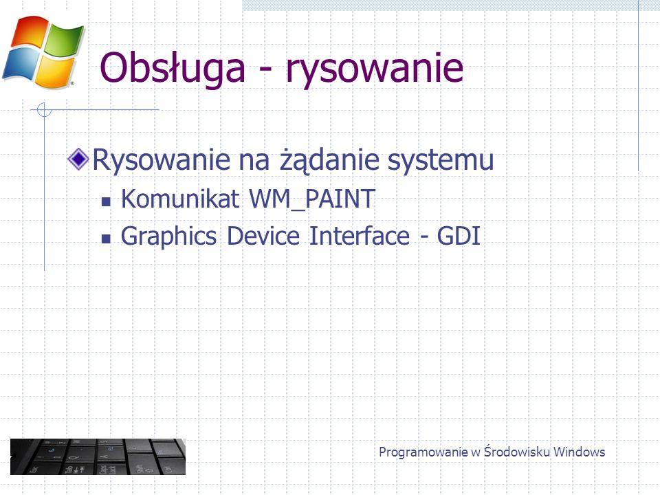 Obsługa - rysowanie Rysowanie na żądanie systemu Komunikat WM_PAINT Graphics Device Interface - GDI Programowanie w Środowisku Windows
