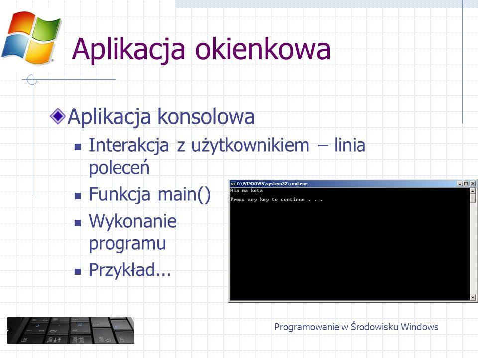 Aplikacja okienkowa Aplikacja konsolowa Interakcja z użytkownikiem – linia poleceń Funkcja main() Wykonanie programu Przykład... Programowanie w Środo