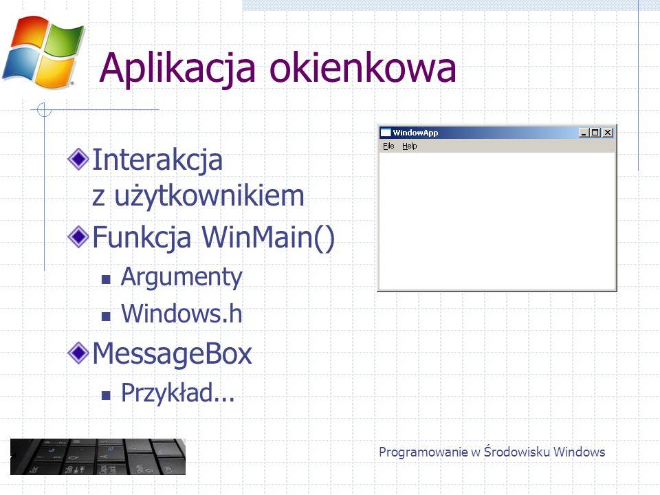 Aplikacja okienkowa Interakcja z użytkownikiem Funkcja WinMain() Argumenty Windows.h MessageBox Przykład... Programowanie w Środowisku Windows