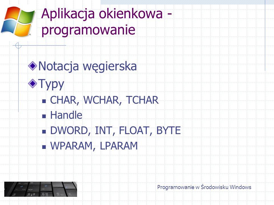 Aplikacja okienkowa - programowanie Notacja węgierska Typy CHAR, WCHAR, TCHAR Handle DWORD, INT, FLOAT, BYTE WPARAM, LPARAM Programowanie w Środowisku