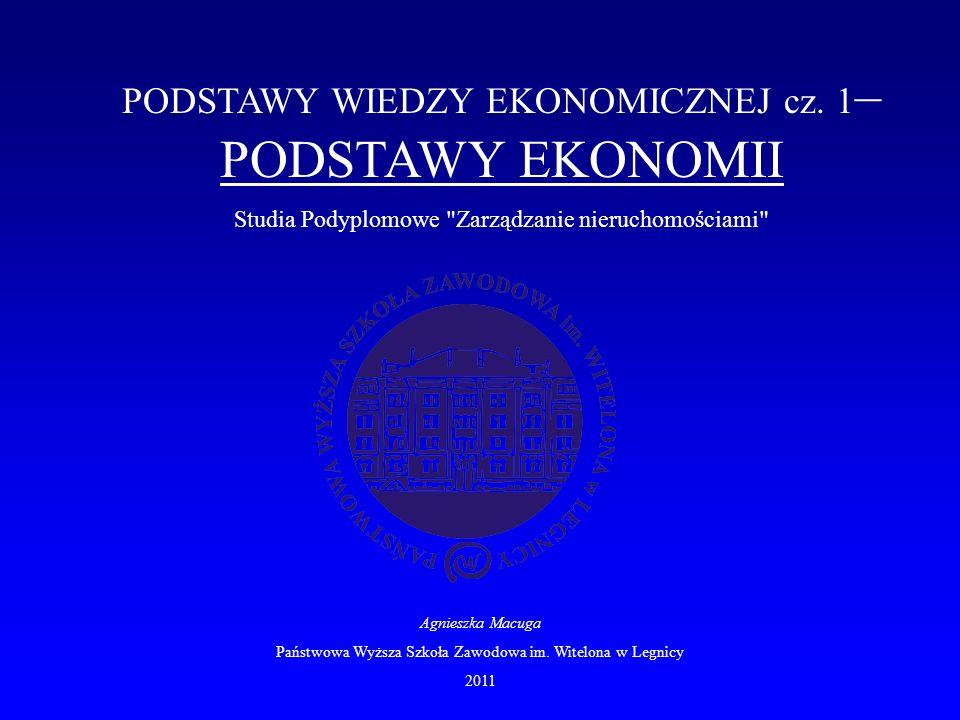 PODSTAWY WIEDZY EKONOMICZNEJ cz. 1 – PODSTAWY EKONOMII Studia Podyplomowe