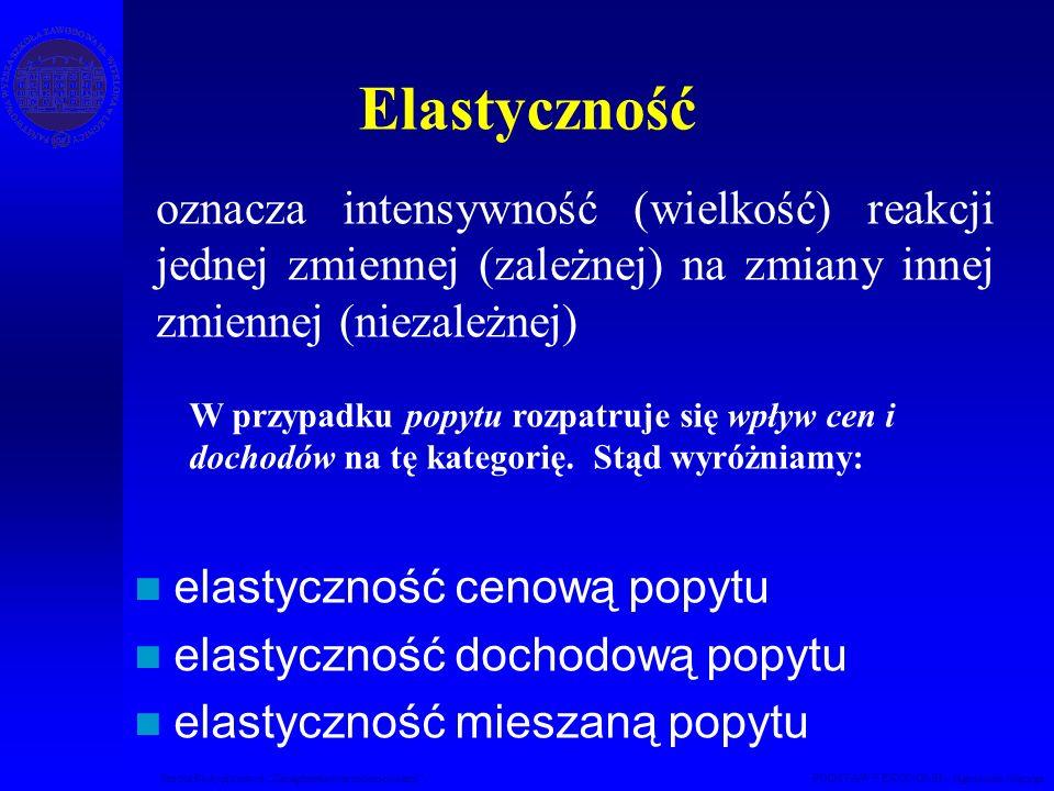Studia Podyplomowe Zarządzanie nieruchomościami PODSTAWY EKONOMII – Agnieszka Macuga oznacza intensywność (wielkość) reakcji jednej zmiennej (zależnej