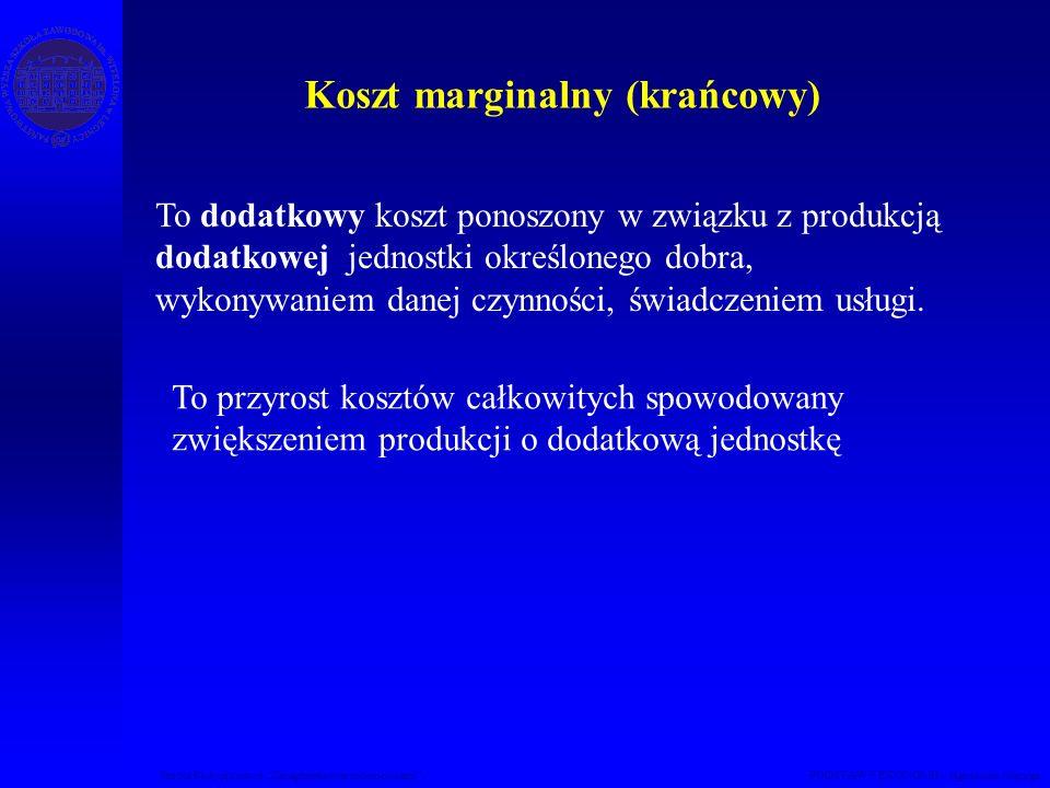 Studia Podyplomowe Zarządzanie nieruchomościami PODSTAWY EKONOMII – Agnieszka Macuga Koszt marginalny (krańcowy) To dodatkowy koszt ponoszony w związk