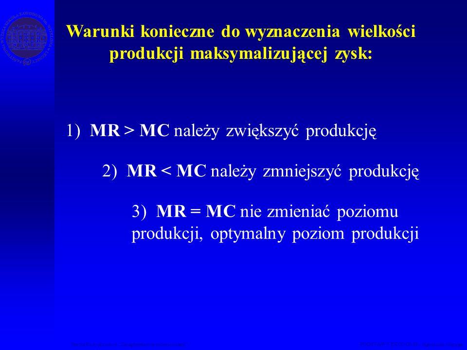 Studia Podyplomowe Zarządzanie nieruchomościami PODSTAWY EKONOMII – Agnieszka Macuga Warunki konieczne do wyznaczenia wielkości produkcji maksymalizuj