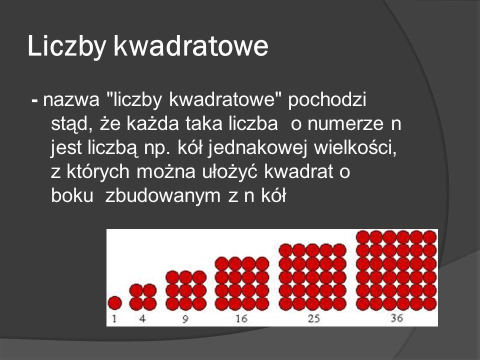 Liczby kwadratowe - nazwa liczby kwadratowe pochodzi stąd, że każda taka liczba o numerze n jest liczbą np.