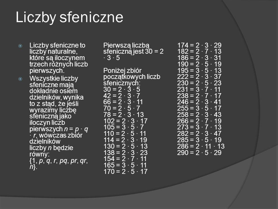 Liczby sfeniczne Liczby sfeniczne to liczby naturalne, które są iloczynem trzech różnych liczb pierwszych.