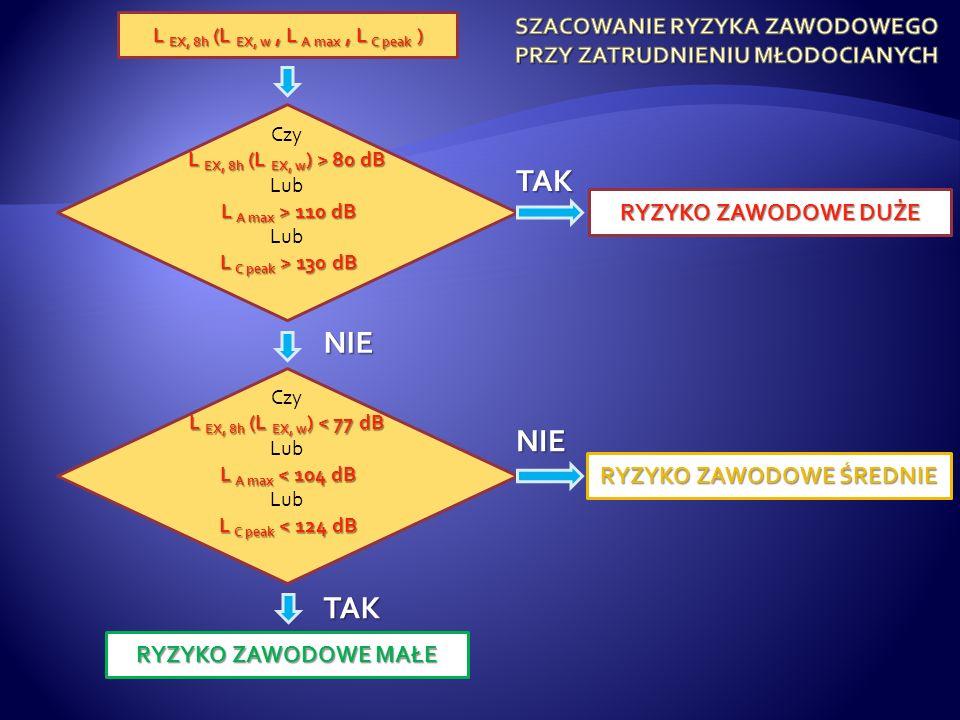 Czy L EX, 8h (L EX, w ) > 80 dB Lub L A max > 110 dB Lub L C peak > 130 dB L C peak > 130 dB Czy L EX, 8h (L EX, w ) < 77 dB Lub L A max < 104 dB Lub