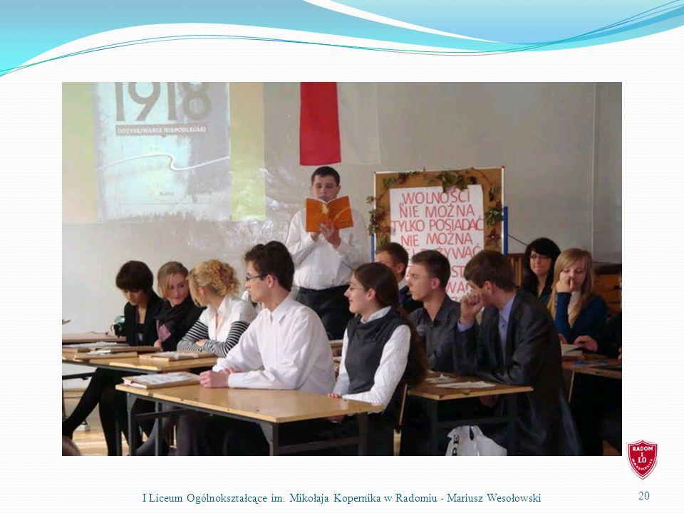 20 I Liceum Ogólnokształcące im. Mikołaja Kopernika w Radomiu - Mariusz Wesołowski