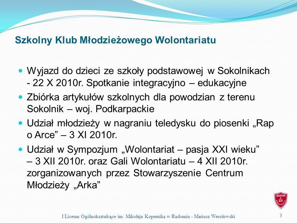 Szkolny Klub Młodzieżowego Wolontariatu Wyjazd do dzieci ze szkoły podstawowej w Sokolnikach - 22 X 2010r.