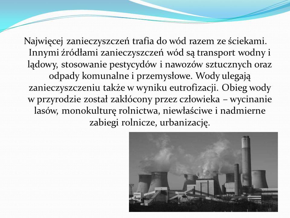 Najwięcej zanieczyszczeń trafia do wód razem ze ściekami.