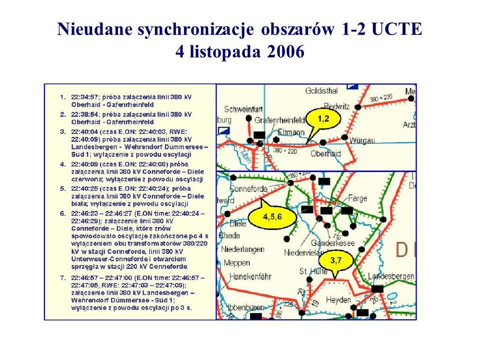 Udana resynchronizacja obszarów 1-2 UCTE 4 listopada 2006