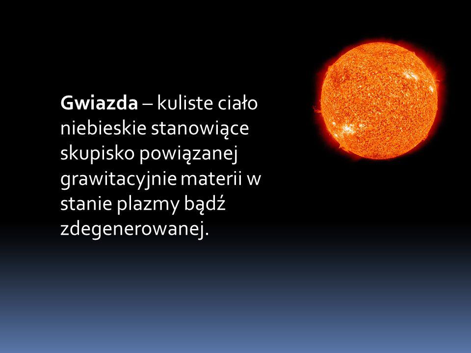 Typy Gwiazd : Karł biały - Jest to gwiazda stabilna, ponieważ ściskająca grawitacja gwiazdy jest równoważona przez siłę odpychania elektronów Biały karzeł -stygnie i świeci jeszcze przez około miliard lat.