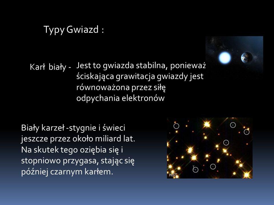 Typy Gwiazd : Karł biały - Jest to gwiazda stabilna, ponieważ ściskająca grawitacja gwiazdy jest równoważona przez siłę odpychania elektronów Biały ka