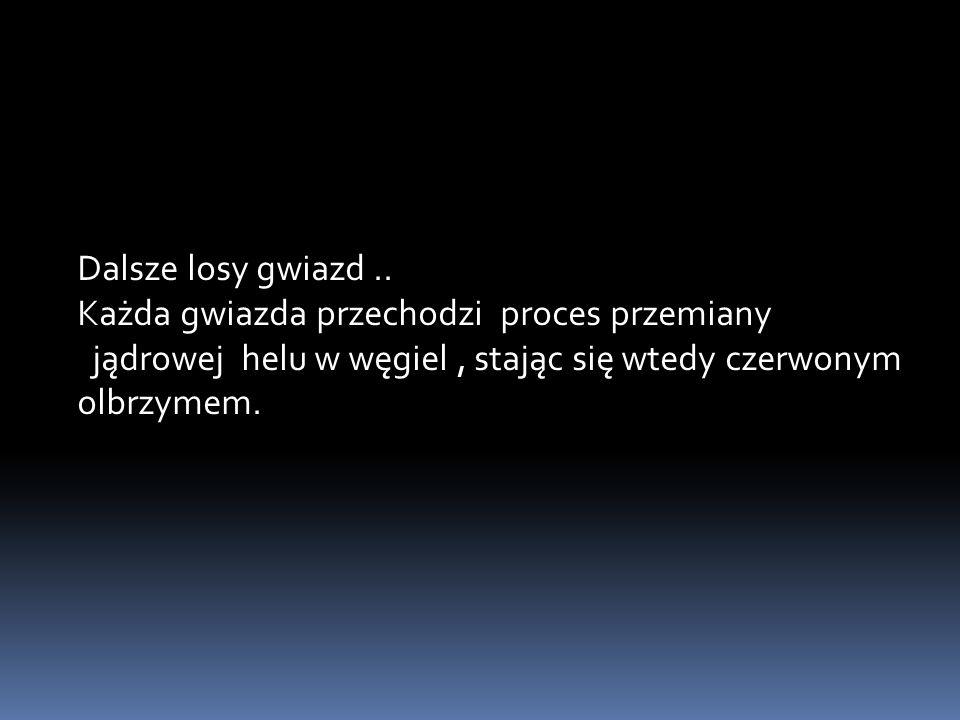Dalsze losy gwiazd.. Każda gwiazda przechodzi proces przemiany jądrowej helu w węgiel, stając się wtedy czerwonym olbrzymem.