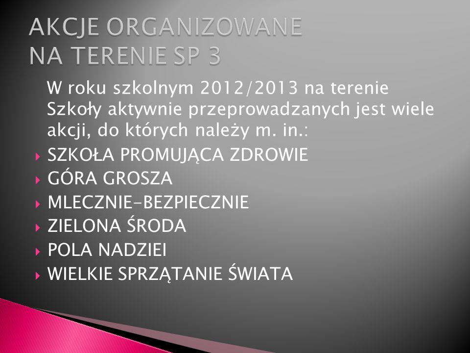 W roku szkolnym 2012/2013 na terenie Szkoły aktywnie przeprowadzanych jest wiele akcji, do których należy m. in.: SZKOŁA PROMUJĄCA ZDROWIE GÓRA GROSZA