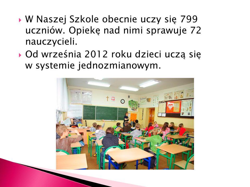 W Naszej Szkole obecnie uczy się 799 uczniów. Opiekę nad nimi sprawuje 72 nauczycieli. Od września 2012 roku dzieci uczą się w systemie jednozmianowym