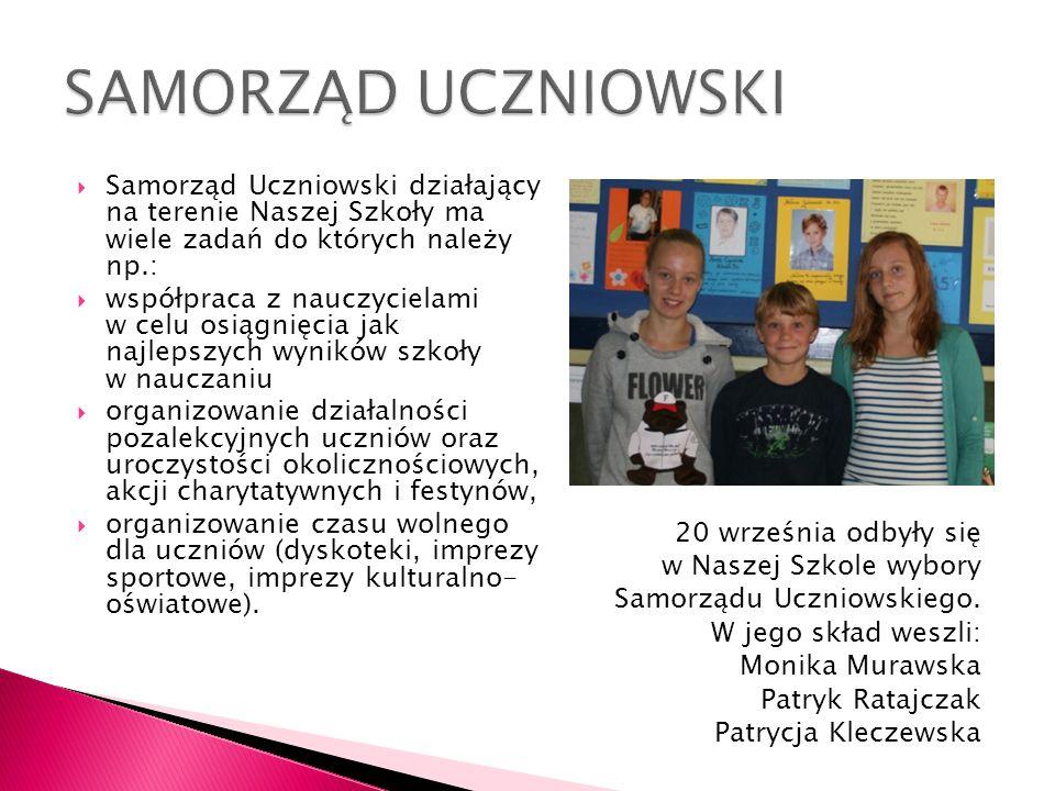 Samorząd Uczniowski działający na terenie Naszej Szkoły ma wiele zadań do których należy np.: współpraca z nauczycielami w celu osiągnięcia jak najlep